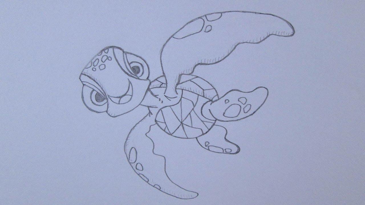 Como Desenhar Esguicho A Tartaruga Marinha De Procurando Nemo