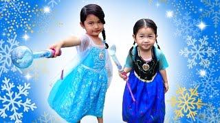 アナ♡エルサ☆光るミュージカルドレス☆ファッションショー風♪アナと雪の女王 Frozen Ana Elsa Musical Dress himawari-CH thumbnail