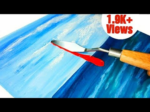 Abstract Painting for beginners /How to draw Sailboat /Seascape /Palette knife /Daily Art #painting