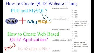 How to Create Quiz Website using PHP and MySQL?[Part-2] [With Source Code]