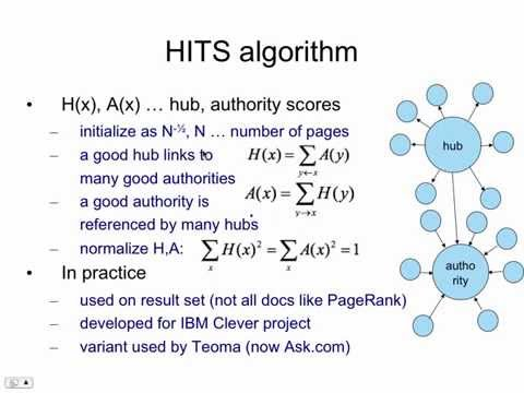 Web Search 8: Hubs And Authorities
