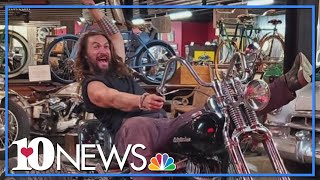 Jason Momoa Visits Maggie Valley Motorcyle Museum