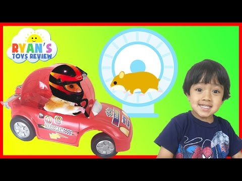 Hamster Pet First Toy Car Wheel And Exercise Ball Kids Video Ryan ToysReview