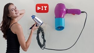 DIY Hair Dryer Holder Wall Mart by PVC