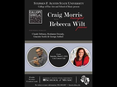Chamber music recital at SFA with Craig Morris, trumpet, and Rebecca Wilt, piano