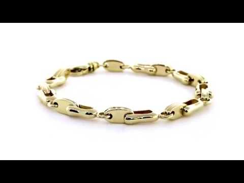 538c3ec1ad8add Mens Designer Shackle and Oval Links Bracelet in 14k Yellow Gold, 8.5  Inches BRZ2821Y1