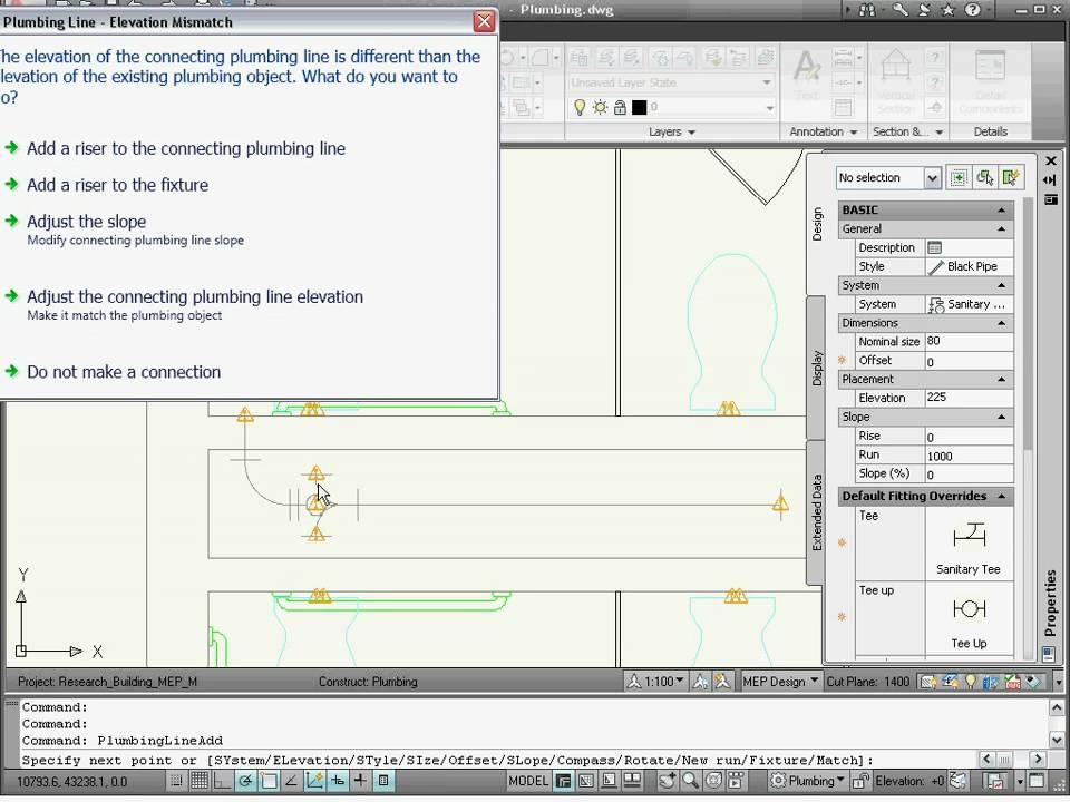 Creating Plumbing System — AutoCAD MEP 2011