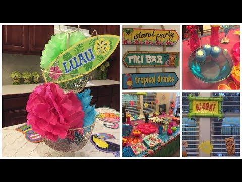 DOLLAR TREE DIY | Floating Tea Lights & Luau Party Set Up!