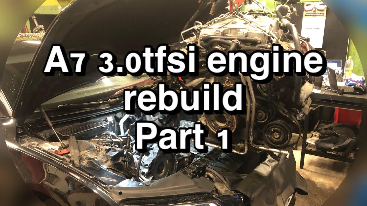 Audi A7 3.0tfsi engine rebuild - part 1 - engine removal | time lapse