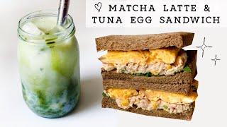 抹茶豆奶拿鐵&健康美味鮪魚沙拉雞蛋三明治 ????Matcha soy latte u0026 tuna salad egg sandwich|easy healthy u0026 yummy breakfast !❤️