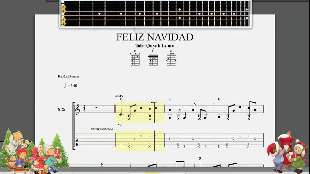 Feliz Navidad Guitar Fingerstyle Full Tab Youtube