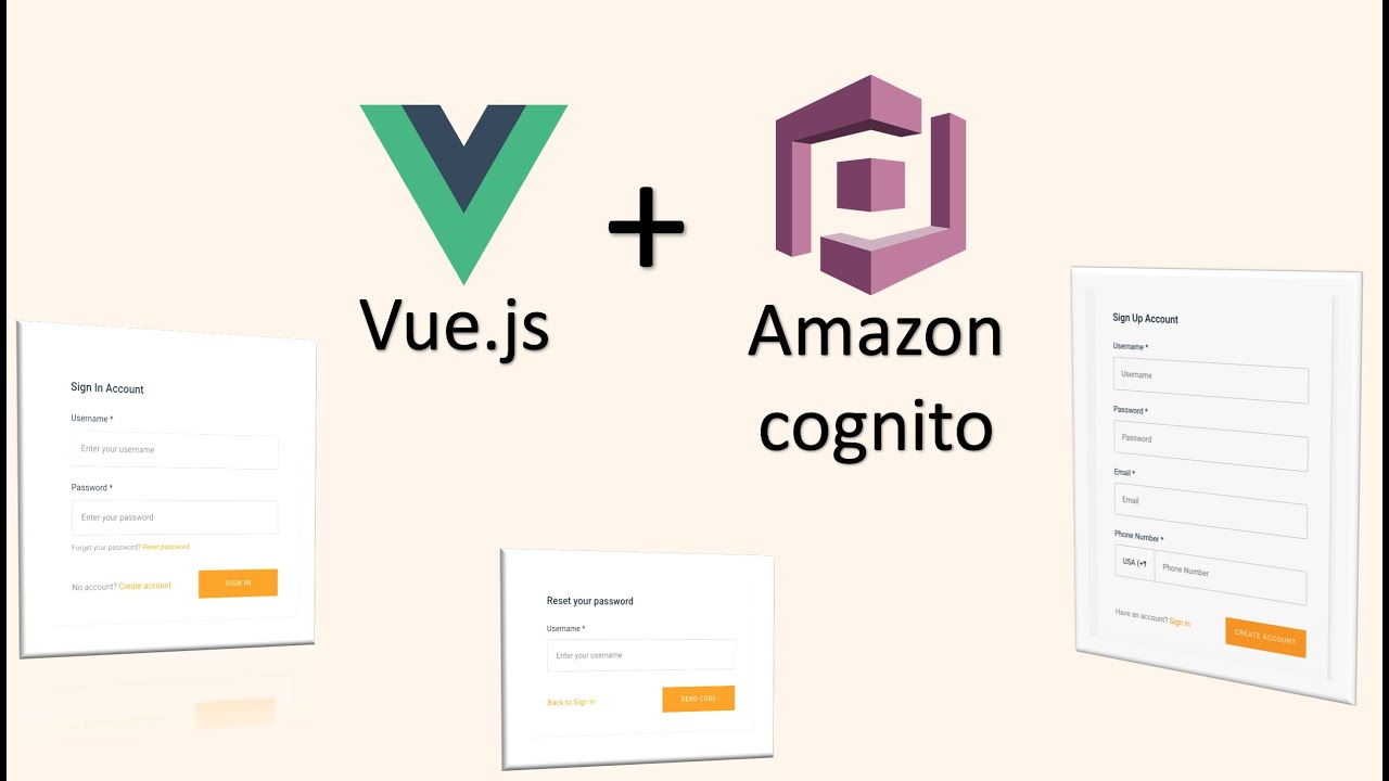 How to add user authentication to Vue Js application using aws-cognito and  aws-amplify lib