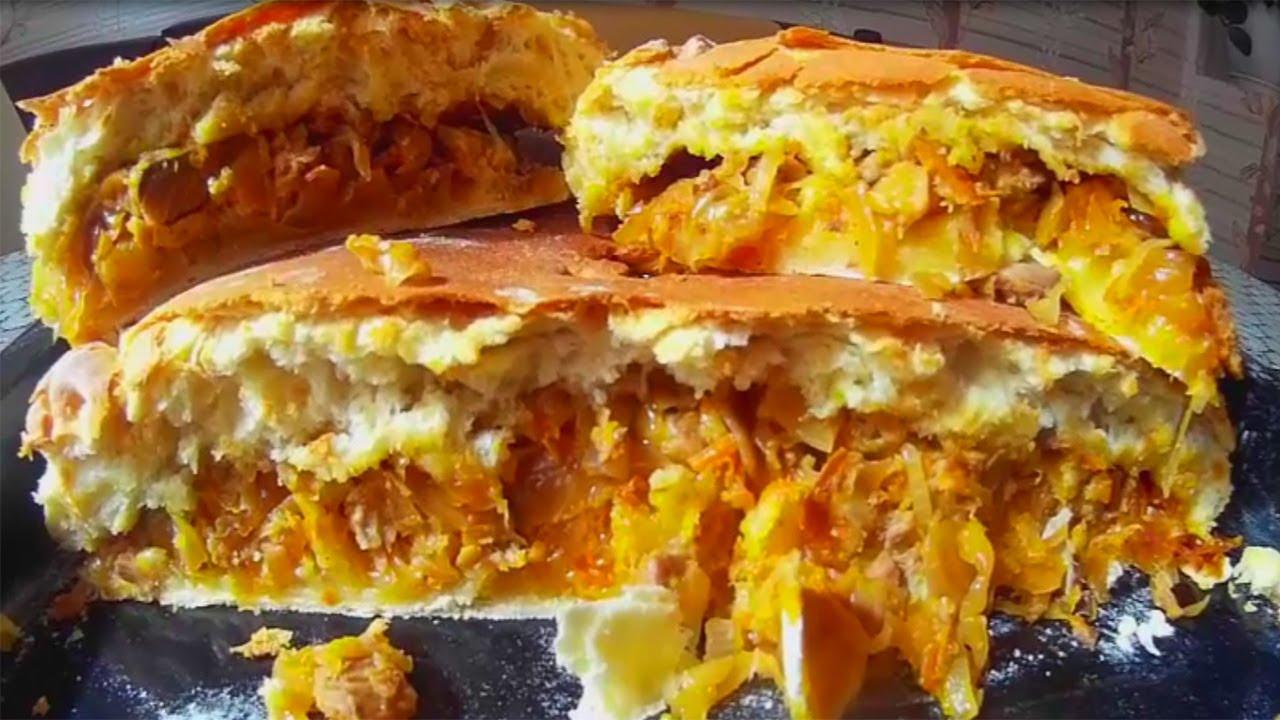 Рыбный пирог, пирог с солёной рыбой и квашенной капустой ...