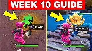 Fortnite WEEK 10 CHALLENGES GUIDE! – BATTLE STAR LOCATION WEEK 10, ALL JIGSAW PUZZLE PIECES LOCATION