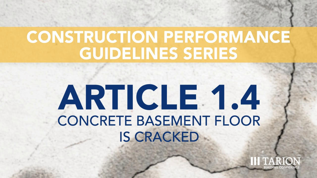 Article 1.4: Concrete Basement Floor is Cracked