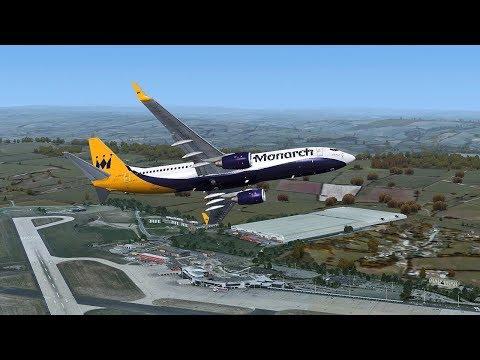 Farewell Monarch PMDG 737  Prestwick-Durham-Leeds-Manchester-Birmingham-Luton-Gatwick
