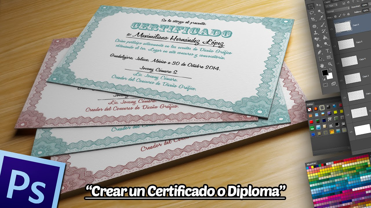 Crear un Certificado o Diploma en Photoshop. - YouTube