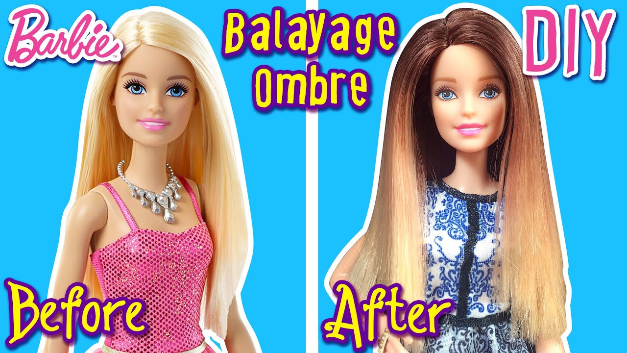 DIY How to Balayage Ombre Hair for Barbie Doll Barbie Tutorial