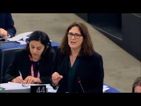 Commissioner Cecilia Malmstrom speaks at the conclusion of the European Parliament Debate on CETA