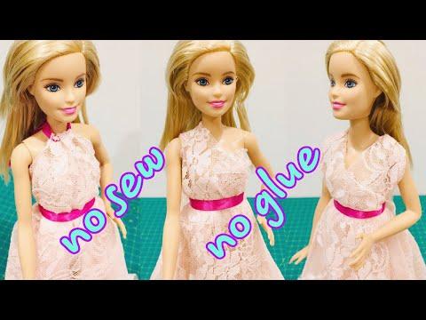 👗DIY doll clothes NO SEW NO GLUE #barbie #dolls #dresses #clothes