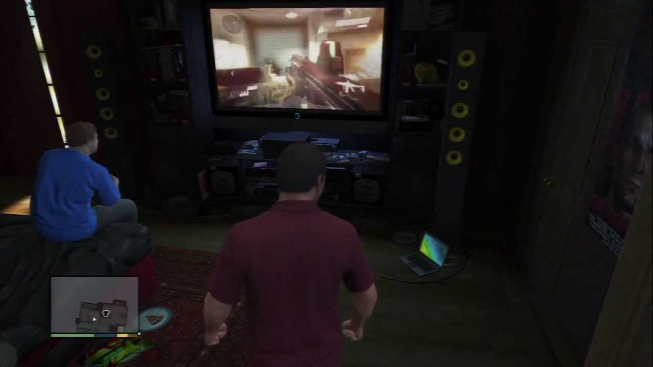 grand theft auto v michael de santa plays video games rightious slaighter with jimmy ps3. Black Bedroom Furniture Sets. Home Design Ideas