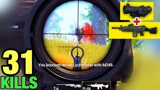 SUPER POWER of M249 + 6x SCOPE | PUBG MOBILE