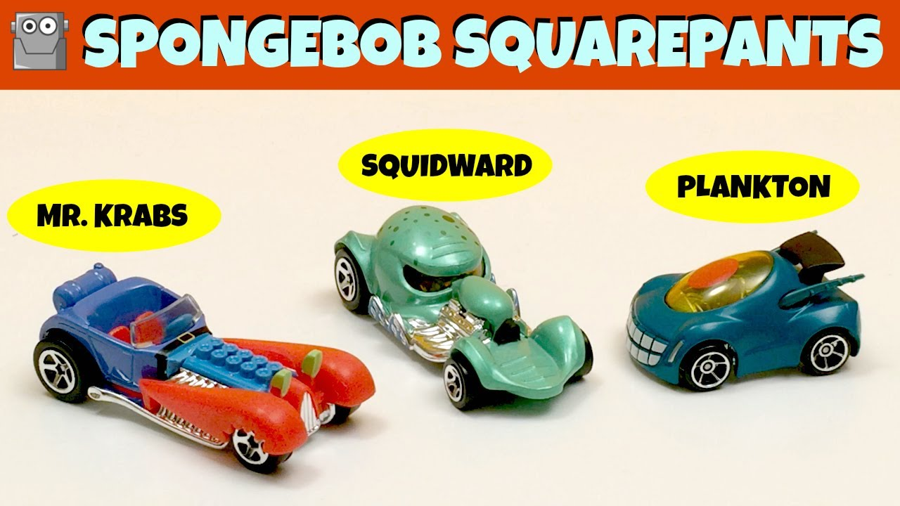 SQUIDWARD & MR. KRABS & PLANKTON Hot Wheels Character Cars SpongeBob ...