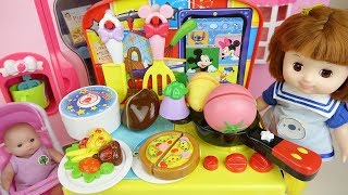 Baby doll and Disney kitchen food cooking toys Baby Doli play