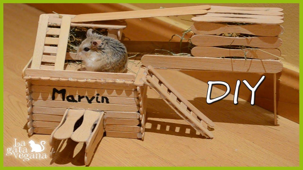 Diy h msters y jerbos caseta de madera con palos de - Hacer caseta de madera ...