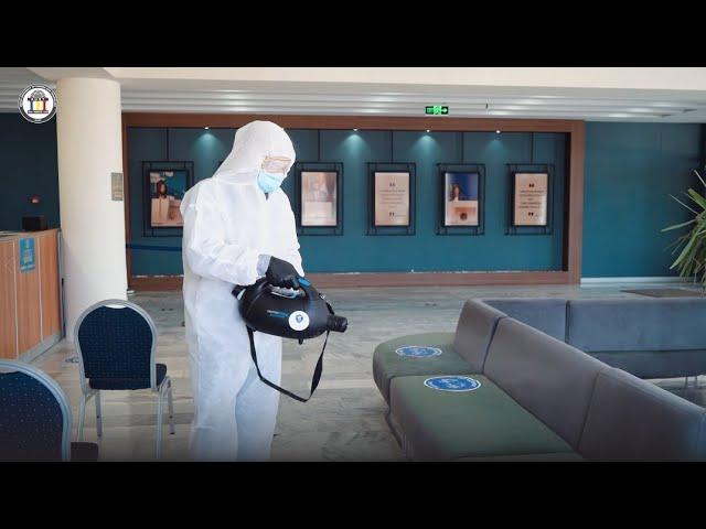 Komar University's campus disinfected - ڕشاندنی دەرمانی دژە ڤایرۆس لە زانکۆی کۆمار