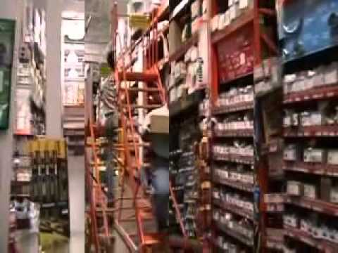 Folable Steel Warehouse Rolling Ladder Climb Cart Youtube