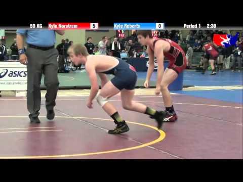Kyle Norstrem vs. Kyle Roberts at 2013 ASICS FILA Cadet Nationals - GR