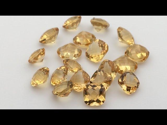 Natural Citrine Yellow Cushion Shape Checkerboard cut Gemstones Supplier
