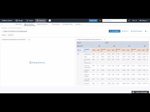 Data Transforms For Faster Data Reporting