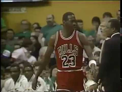 MICHAEL JORDAN - GREAT 3-POINT PLAY!!  1986 NBA PLAYOFFS GAME 2 - BULLS @ CELTICS