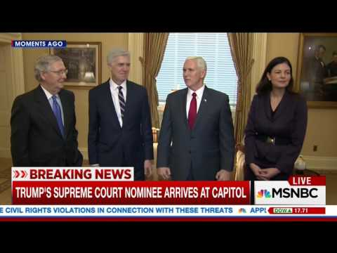 VP Pence, Judge Gorsuch and Kelly Ayotte Meet with Senator McConnell