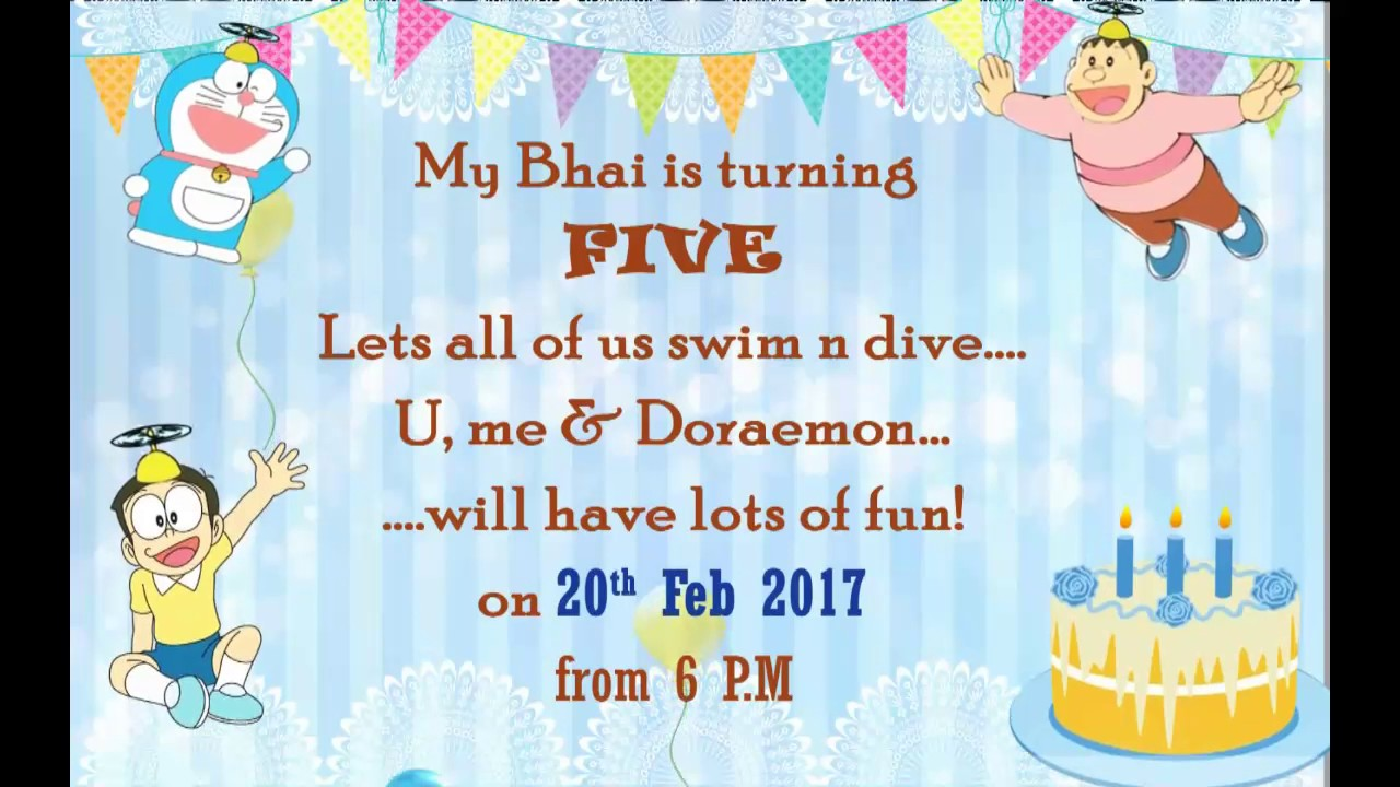 Doraemon THEME WHATS APP Invitation For Twins Birthday Party YouTube - Birthday invitation cards twins