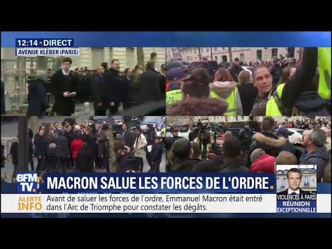 """Des gilets jaunes scandent """"Macron démission"""" à proximité du Président à Paris"""