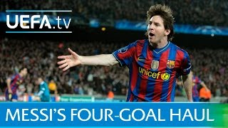 Messi scores four goals - Barcelona v Arsenal in 2010