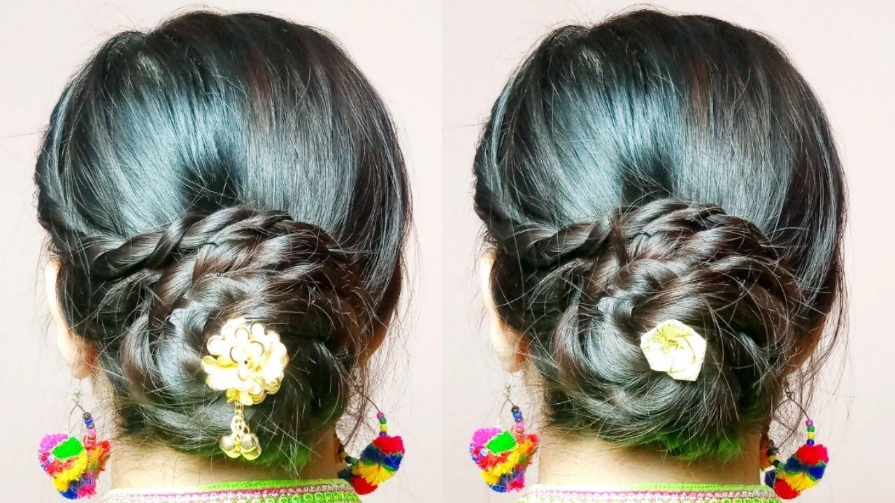 Flower Bun Hairstyle For Festivals Diwali Bhai Duj Lakshmi Puja