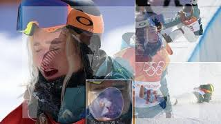 Snowboarder Emily Arthur falls during Winter Olympic final