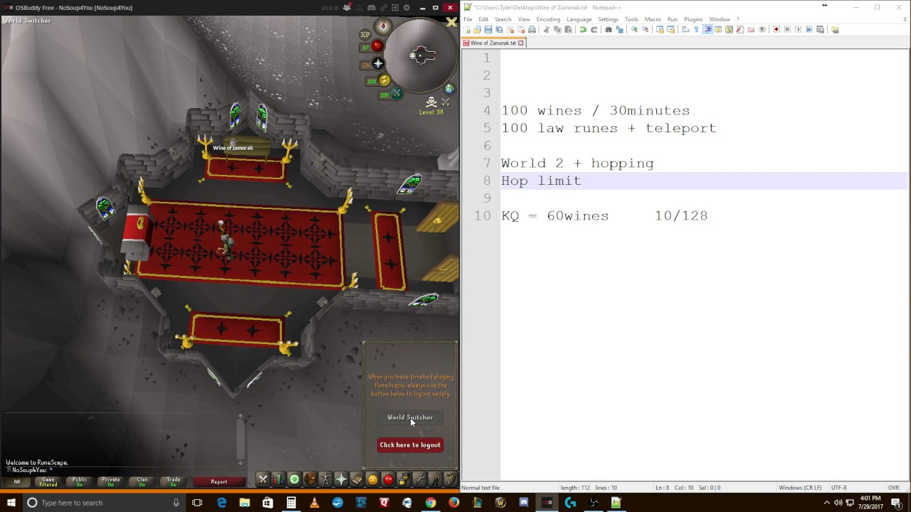 OSRS Ironman Guide to Getting Wines of Zamorak | wines/hr | Ranging Potions