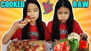RAW VS COOKED FOOD CHALLENGE!
