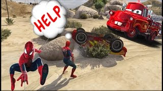 Şimşek McQueen başı dertte! Actionn ile Çocuklar Örümcek Adam İçin araba Karikatür w Çocukların Tekerleme