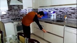 Akrilik Mutfak Dolabı Led Aydınlatmalı