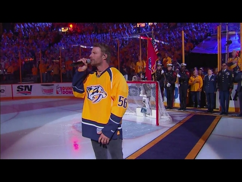 Dierks Bentley sings The Star-Spangled Banner before Game 4 of the Stanley Cup Final