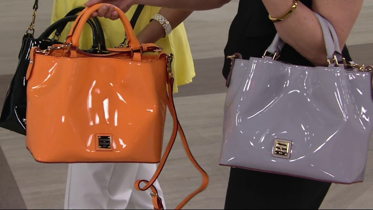 Dooney Bourke Patent Leather Small Brenna Satchel Handbag On Qvc