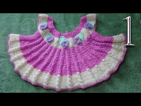 Как связать платье с круглой  кокеткой на девочку 6 месяцев вязание спицами