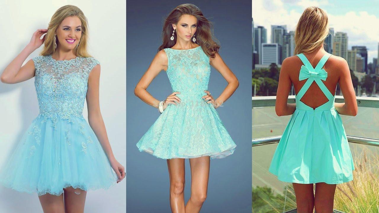 Vestidos de fiesta de moda color celeste 2017 youtube - Colores de moda ...
