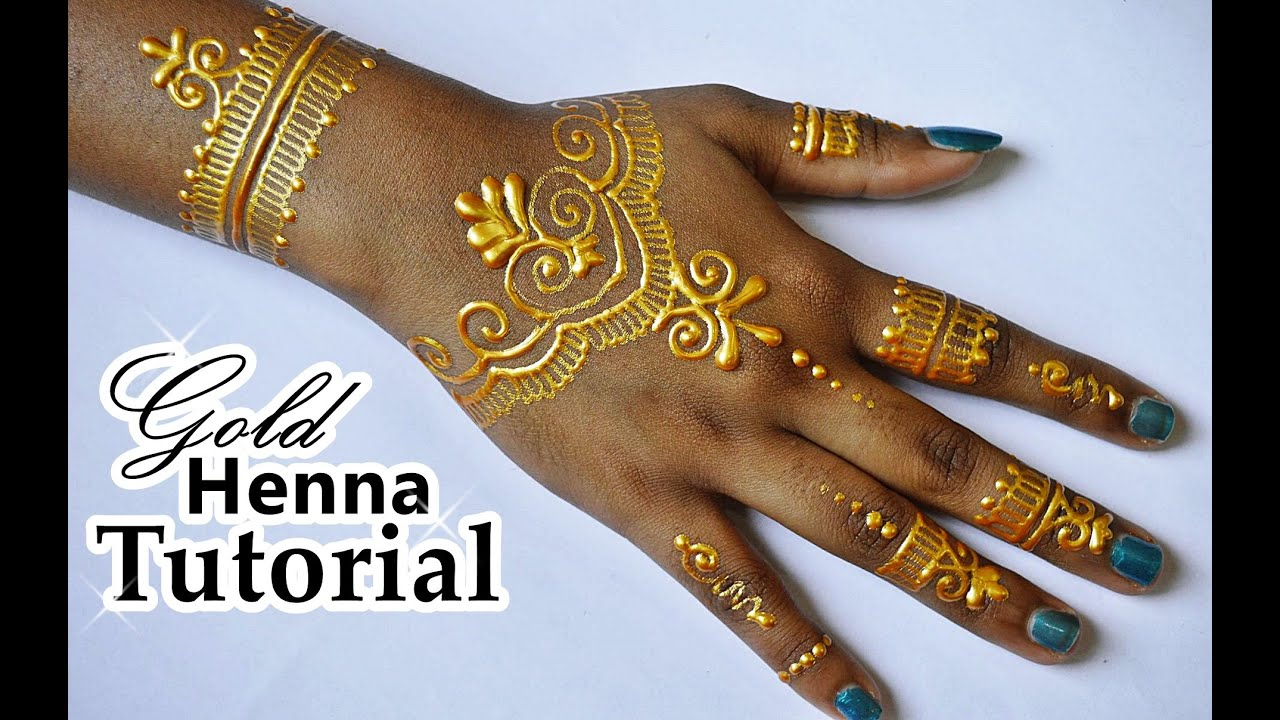 Diy Henna Tattoo Ink Without Henna Powder: DIY How To Apply GOLD HENNA/ Body Paint Temporary Tattoo